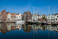 Goes harbour in the Netherlands. Historical houses on Turfkade (l) and Kleine Kade (r) in the small harbour of the city of Goes in Zeeland, Netherlands royalty free stock photo