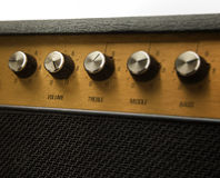 This goes to eleven. Guitar amplifier with volume control set at eleven royalty free stock image