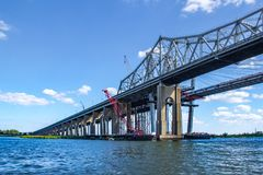 The Goethals Bridge over the Arthur Kill Connecting Staten Island and NYC. The Goethals Bridge is the name of a pair of cable-stayed bridge spans connecting royalty free stock photo