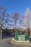 Goethe fountain at the Frauenplatz square Stock Photos