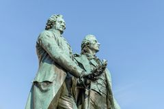 Goethe and Schiller. Monument to Goethe and Schiller in Weimar Royalty Free Stock Photography