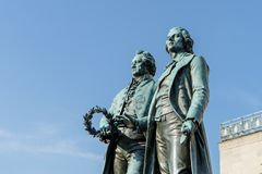 Goethe and Schiller. Monument to Goethe and Schiller in Weimar Stock Photography