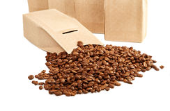 The goffered cardboard box with coffee grains Royalty Free Stock Photography