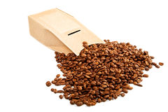 The goffered cardboard box with coffee grains Royalty Free Stock Photo
