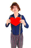 Goffy man holding heart Royalty Free Stock Photos
