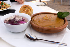 Gofio Escaldado traditional Canarian dish served with chopped onions, Fuerteventura. Gofio, flour made from roasted cereal is a popular ingredient in the Canary royalty free stock photography