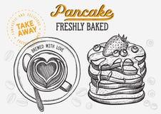 Gofr, blin, krepdeszynowa ilustracja dla piekarnia sklepu zdjęcie royalty free