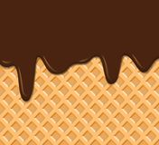 Gofr tekstura z rozciekłą czekoladową tło wektoru ilustracją ilustracji