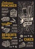 Gofra i blinu menu szablon dla restauraci z doodle ręką ilustracji