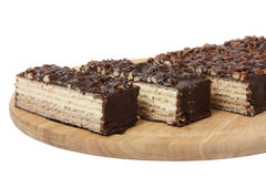 Gofra tort z dokrętkami i czekoladą Zdjęcie Royalty Free