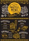 Gofry i krepa menu restauracja, karmowy szablon royalty ilustracja