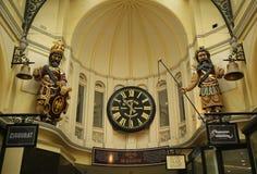 Gog and Magog with Gaunt's clock at Royal Arcade in Melbourne. MELBOURNE, AUSTRALIA - JANUARY 24, 2016: Gog and Magog with Gaunt's clock at Royal Arcade in Stock Image