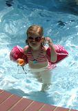 Goggle girl. Little girl with goggles royalty free stock image