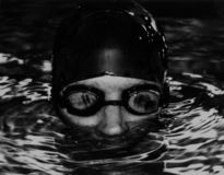 Goggled Swimmer. Swimmer in the pool with goggles Royalty Free Stock Photos