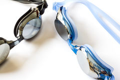 Goggles. Black and blue goggles isolated stock photography