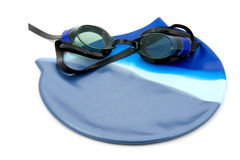 Goggles with bathing cap. Dive goggles with bathing cap, isolated on white background stock image