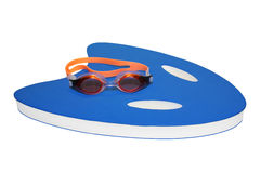 Goggles and Board for Swimming. Training isolated on white background with clipping path stock image