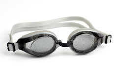 Goggles for diving  in water droplets on white background Stock Image