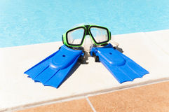 Goggles and flippers children Stock Image