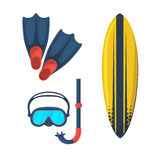 Goggles mask. Flippers. Surfing board Royalty Free Stock Photos
