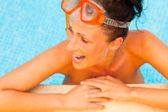 Goggles pool woman Stock Photos