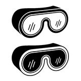 Goggles safety glasses black symbol Stock Image