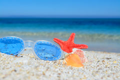 Goggles and shells on the sand Royalty Free Stock Image