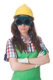 goggles som slitage kvinnan Fotografering för Bildbyråer