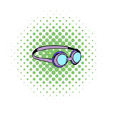 Goggles for swim icon, comics style. Goggles for swim icon in comics style on a white background Royalty Free Stock Images