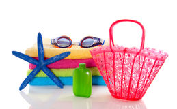 Goggles on top of beachtowels Royalty Free Stock Photography