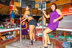 Women pole dancing on Lamai bar Stock Photo