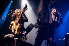 Gogol Bordello concert. American alternative band Gogol Bordello performing live at Arena club, Moscow, Russia Stock Image