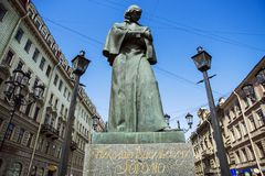 Gogol monument in St. Petersburg, Russia Stock Photography