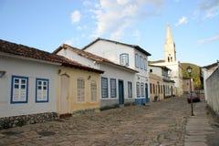 Goias Velho Cobblestone Street. A cobblestone street in the Unesco world heritage site of Goias Velho, Brazil Royalty Free Stock Image