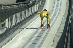 Going for it. A ski-jumper on his way to the jump Royalty Free Stock Photo