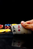 Going all in while playing poker Stock Images