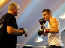 Current  World heavyweight champion boxer Vitali Klitschko  getting ready for championship fight Royalty Free Stock Photo