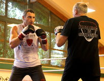 Current  World heavyweight champion boxer Vitali Klitschko  getting ready for championship fight Stock Image