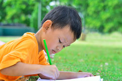 Going back to school : Boy drawing and painting over green grass Royalty Free Stock Photos