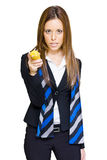 Going Bananas Over Business. Sexy Business Woman Holding Up A Banana And Taking Aim To Shoot With A Deadly And Confident Look Of Determination When Going Stock Photo