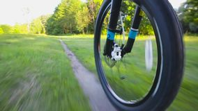 Going by Bike in the forest. Low Angle View stock footage