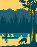 Going Canoeing. Vintage looking illustration of a man canoeing on a lake Stock Photos