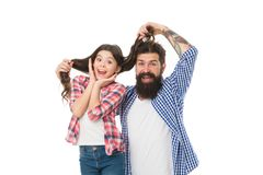 Going crazy together. Father and daughter having fun. Child and dad best friends. Friendly relations. Parenthood and. Childhood. Fathers day concept. Lovely royalty free stock photos