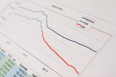 Going down. Reviewing the balance sheet - getting deep in red numbers Royalty Free Stock Photos