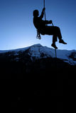 Going down. A mountaineer is done for the day royalty free stock image