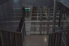 Down the airport stairs emergency exit stock images