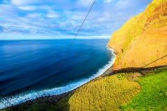 Going down by cable car in Achadas da Cruz, Madeira Royalty Free Stock Photos