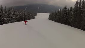 Going down the ski run in Bukovel stock footage