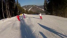 Going down the ski run in Bukovel stock footage