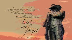 Poem soldier / digger at sunset illustration stock image